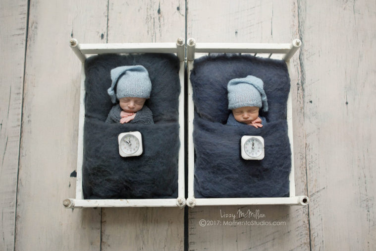 new years eve twins different birthdays doll beds sleep hats wool fluff tiny clocks