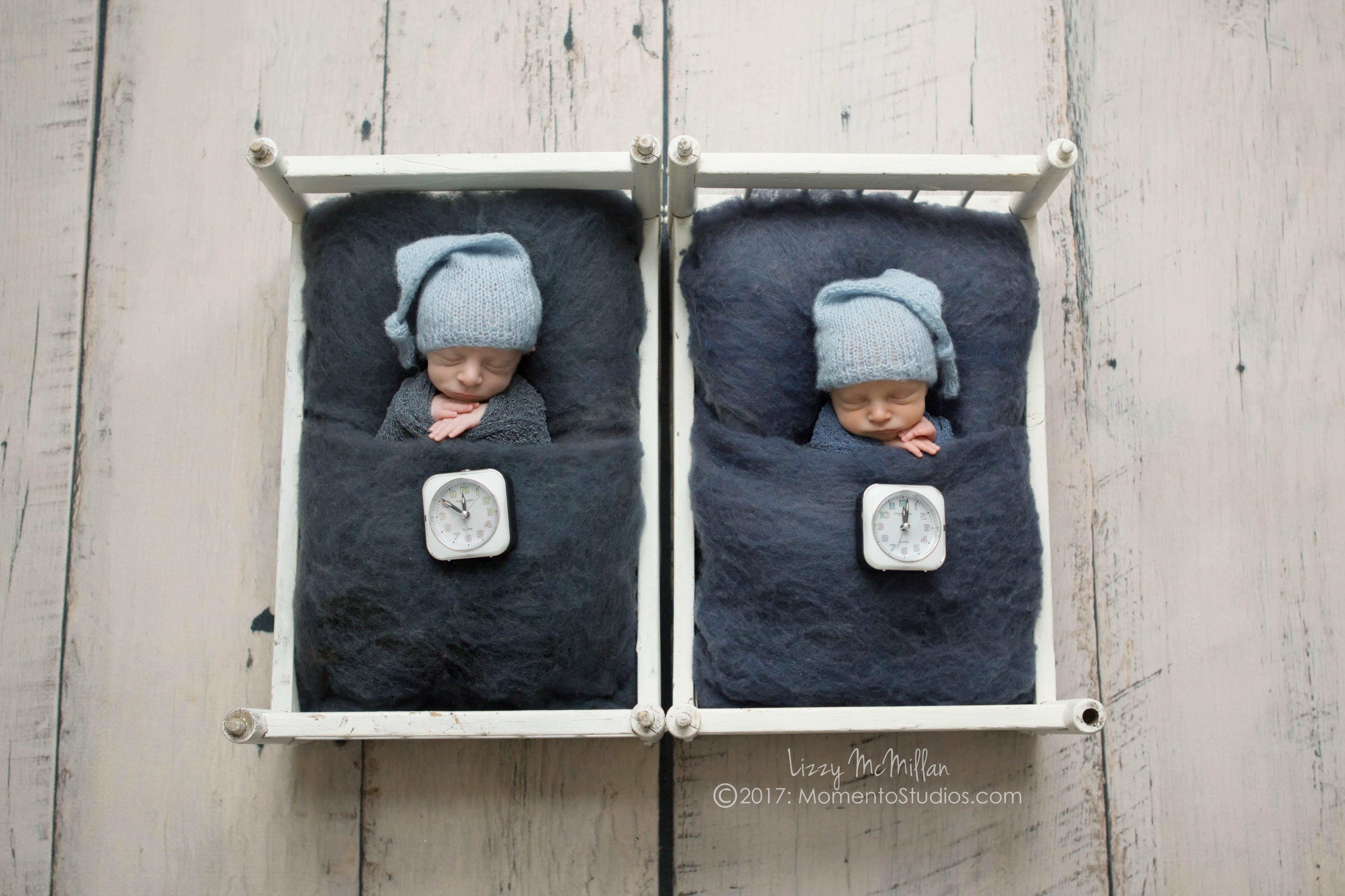 new years eve twins different birthdays doll beds sleep hats wool fluff tiny clocks