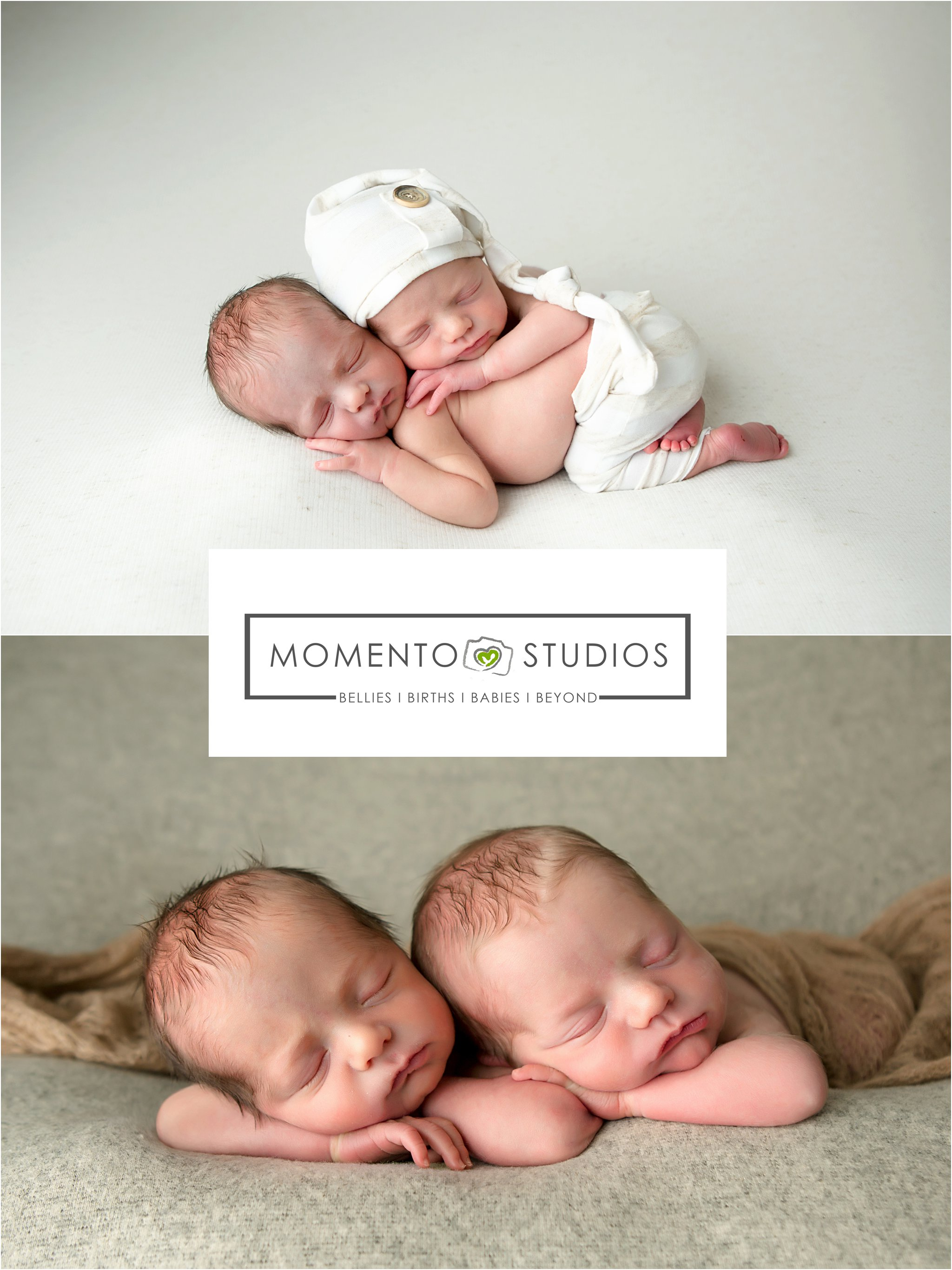 newborn twin boys neutral colors posed twins sleep hat pants mohair lizzy mcmillan momento studios