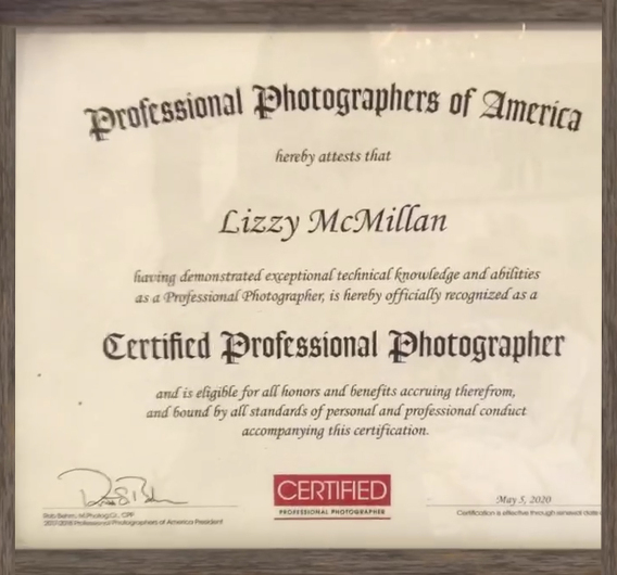 certified professional photographer certificate lizzy mcmillan PPA CPP